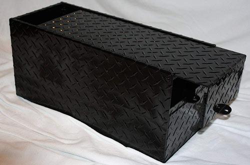 RV Battery Lock Box – Black Aluminum Diamond Plate Gloss