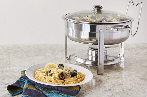 Artisan 4-Quart Stainless Steel Round Buffet Chafer with Glass Lid