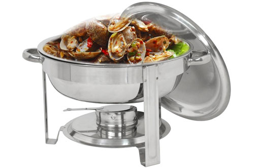 Super Round Chafing Dish & Stainless Steel Dinner Serving Buffer Warmer Set