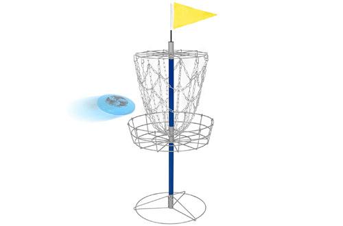 BestDouble Chains Steel Frisbee HolePortable Disc Golf Basket