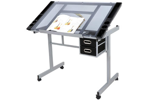 Super Deal Tempered Glass Top Art Craft Table with Drawers & Wheels