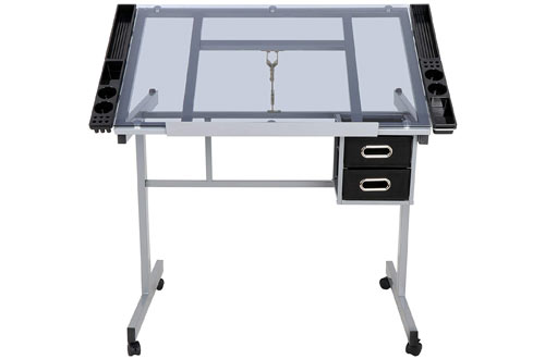 ZENY Adjustable Glass Drawing Table