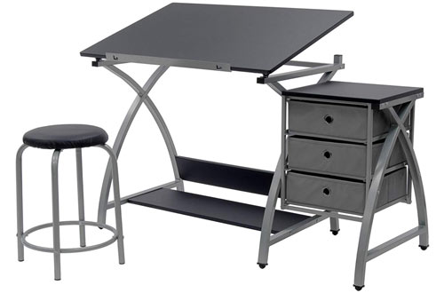STUDIO DESIGNS Black Comet Center with Stool Silver