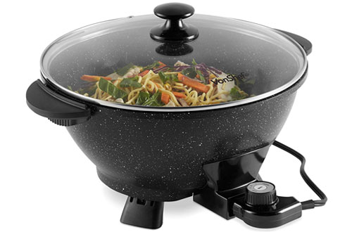 VonShef 7.4Qt Electric Non-Stick Wok with Lid