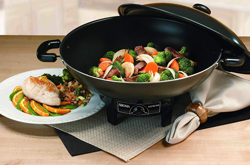 Aroma Housewares AEW-305 Black Electric Wok