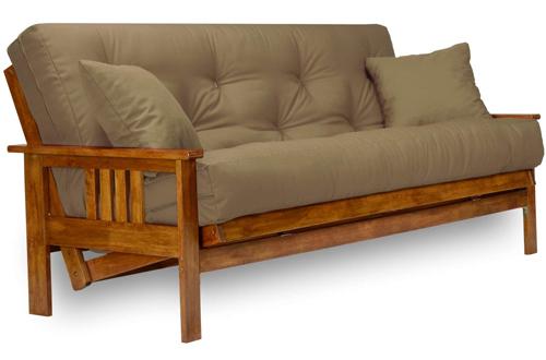 Stanford Futon Set - Full-Size Wood Futon Frame with Mattress