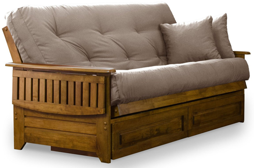 Queen-Size Futon Frame with Heritage Finish – Brentwood Tray Arm