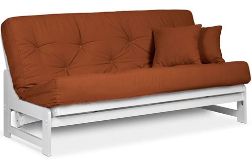 Arden ArmlessQueen SizeWhite Wood Futon Frame for Small Room
