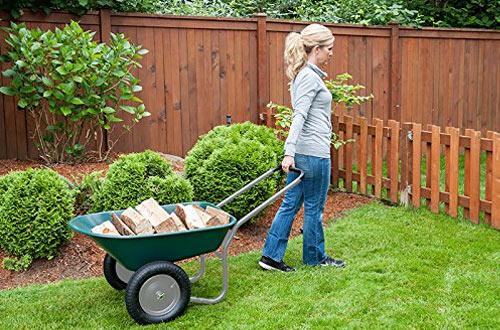 Marathon Dual-Wheel Residential Yard Wheelbarrow & Yard Cart