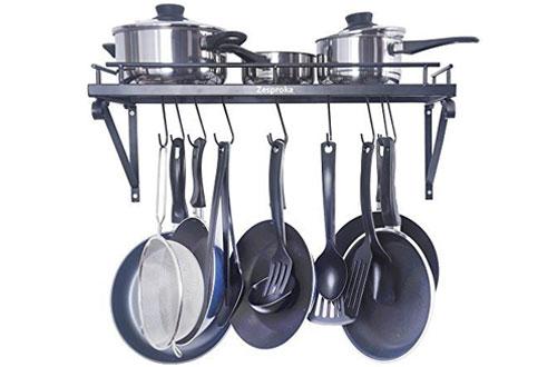 ZESPROKA Kitchen Wall-Mount Pot Pan Rack with Hooks