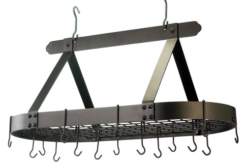 Old Dutch Oiled Bronze Oval Steel Pot Rack with Grid & Hooks