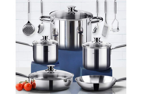 HOMI CHEF 14-Piece Nickel Free Stainless Steel Cookware Set