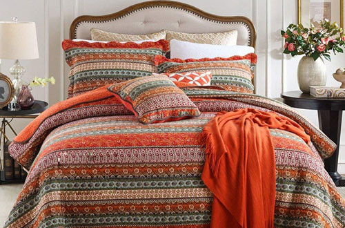 NEWLAKE Striped Patchwork King Size Bedspread