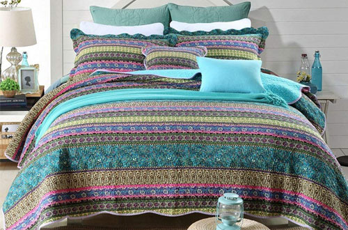 NEWLAKE Striped Jacquard Style Queen Size Bedspread Sets