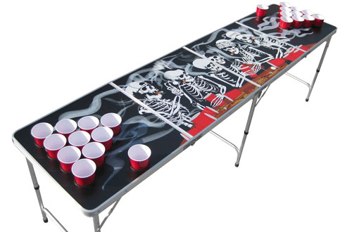 The Pong Squad Bones Skeleton Beer Pong Table with Holes