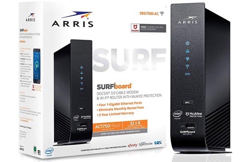 ARRIS SURFboard SBG7580AC 32x8 DOCSIS 3.0 Wifi Cable Modem - AC1750 Wi-Fi Router