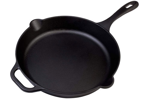 Large 12-Inch Pre-Seasoned Cast Iron Skillet - Round Frying Pan