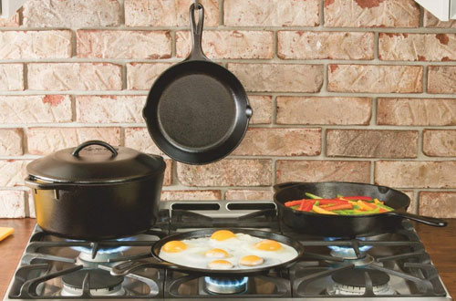 Lodge 12-Inch Cast Iron Skillet with Red Silicone Handle Holder