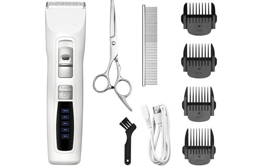 Bousnic Professional Cordless Pet Grooming Hair Clippers for Small & Large Dogs & Cats