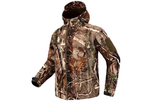 CARWORNIC Men's Tactical Outdoor Hunting Jacket Waterproof Softshell Fleece Camouflage Jackets