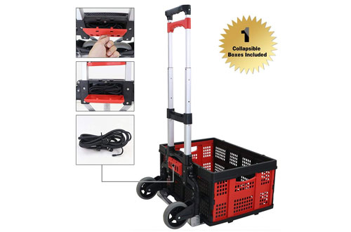 Finether Lightweight Aluminum Hand Truck Dolly with Collapsible & Detachable Box