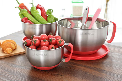Rorence Non-Slip Mixing Bowls with Pour Spout, Handle and Lid