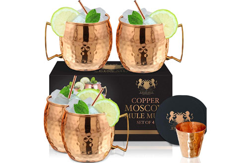 Copper Mugs Moscow Mule - Handmade Hammered Copper Cups