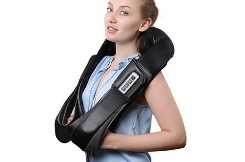 Therapeutic 3D Shiatsu Neck and Shoulder Massager withwith Heat & Hand Vibration Therapy
