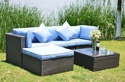 GOJOOASIS O Patio Wicker Rattan Sofa Sectional Furniture Set with Cushion and Pillow