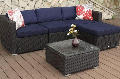 PHI VILLA Outdoor Rattan Patio Sectional Sofa - Wicker Furniture Set