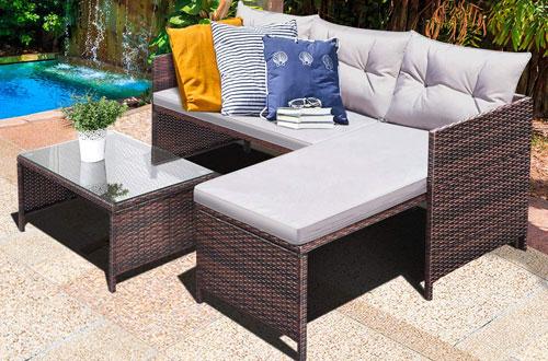 Tangkula 3 PCS Garden Rattan Patio Furniture Sofa Set - Lounge Chaise