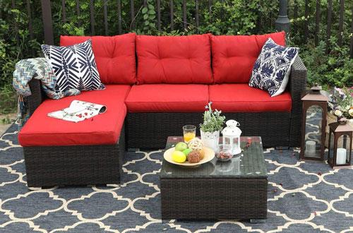 PHI VILLA 3-Piece Rattan Sectional Sofa - Patio Wicker Furniture Set