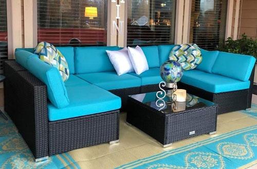 Peach 7 PCs Outdoor Patio Wicker Sofa Sectional Furniture Set