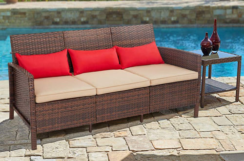 SUNCROWN 3-Seat Outdoor Patio Sofa Couch - Wicker Patio Furniture