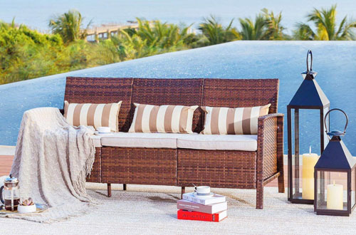 Solaura Outdoor Furniture Wicker Patio Sofa with Cushions & Pillows