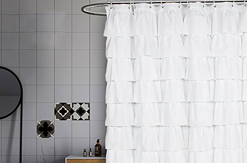 Volens Fabric/Ruffle White Shower Curtain for Bathroom