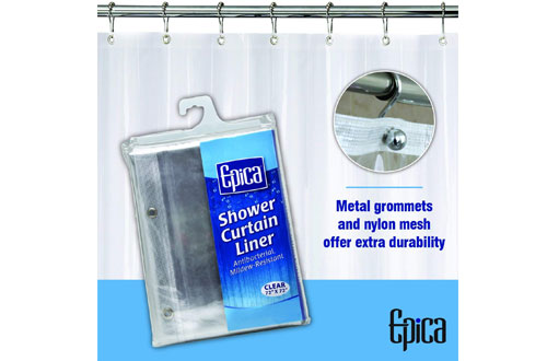 Epica Market Strongest Mildew Resistant Clear Shower Curtain Liner