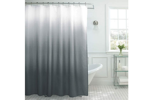 Natural Home Ombre Textured Dark Grey Shower Curtain with Rings