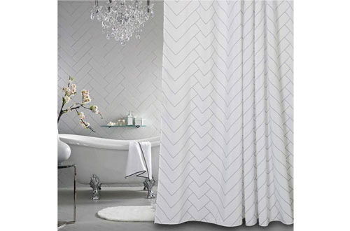 Aimjerry Hotel Resistant Fabric White Shower Curtain for Bathroom