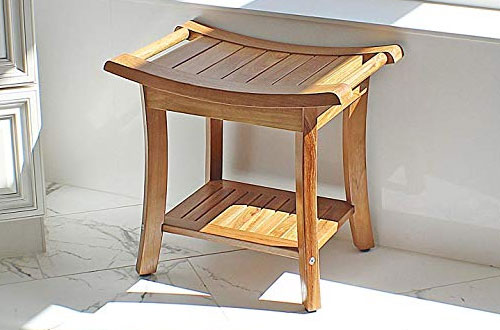WELLAND Deluxe Teak Wood Shower Bench with Storage Shelf