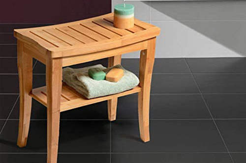 Bamboo Wooden Shower Bench - Bath Seat Bench for Indoor/Outdoor
