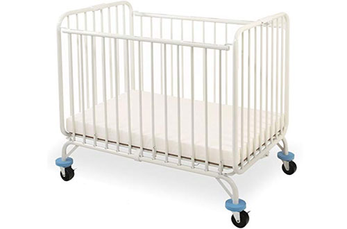 L.A. Baby Deluxe Holiday Folding White Metal Crib for Baby