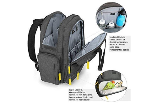 BagitalistWaterproof Durable Baby Diaper Bag Backpack for Mommy & Daddy