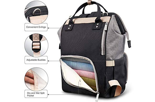 Hafmall Waterproof Large Insulation Diaper Bag Backpack for Travel