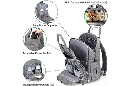 Iniuniu Large Unisex Baby Diaper Bag Backpack for Mom and Dad