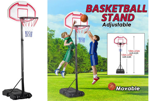 Yaheetech Outdoor Adjustable Basketball Hoop System for Kids