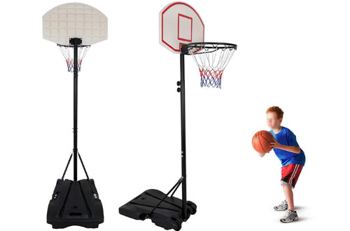 F2C Height Adjustable Portable Toddler Basketball Hoop with Backboard & Wheels