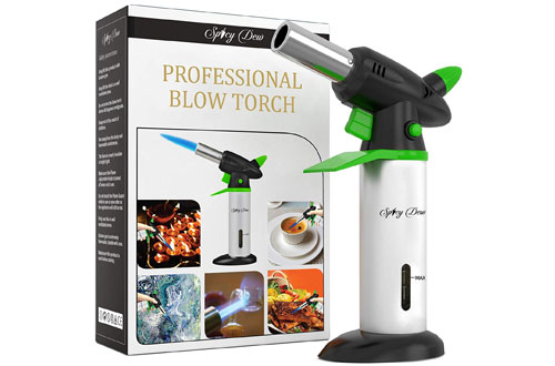 Spicy Dew Refillable Professional Culinary Kitchen Torch with Safety Lock