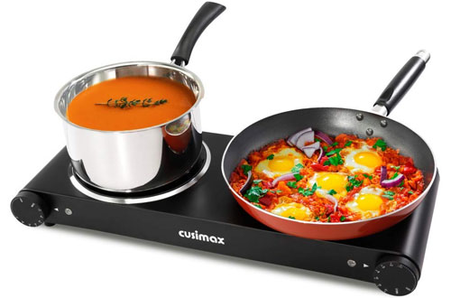Cusimax 1800W Electric Stainless Steel Double Infrared Cooktop - CMIP-B180