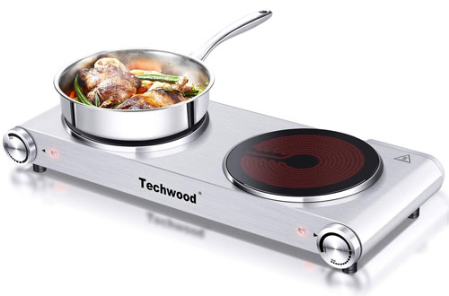 Techwood 1800 Watts Countertop Burner - Electric Infrared Ceramic Double Cooktop
